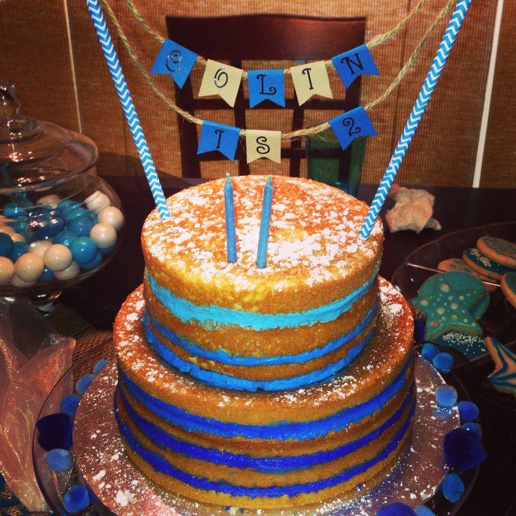 Blue ombré naked cake