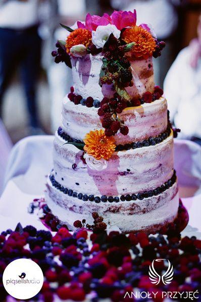 18. Fuchsia Orange Wedding,Wedding cake,Rustic cake / Wesele fuksjowo-pomarańczowe,Tort weselny,tort rustykalny,Anioły Przyjęć