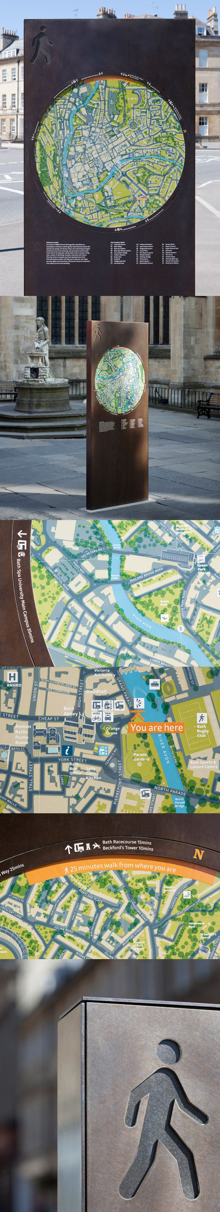 I love these Bath city wayfinding maps for the shape they take. It's unexpected, but is very fun for the viewer to look at and draws them in rather than being difficult and a nuisance to look at.