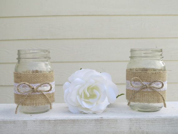 center pieces made from mason jars | Burlap and Lace Mason Jar Wedding Centerpieces or Decorations