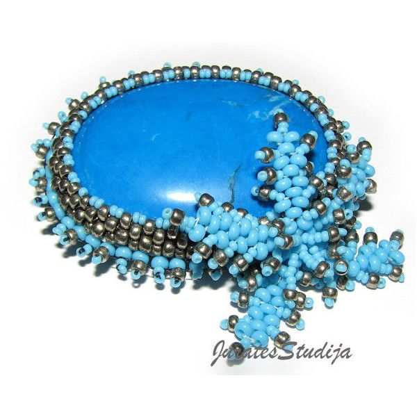 Blue Jade Stone Brooch, Cabochon Brooch, Bead Embroidered Jewelry,... ($35) ❤ liked on Polyvore featuring jewelry, brooches, beaded brooch, blue stone jewellery, blue jade jewelry, beaded jewelry and blue stone brooch