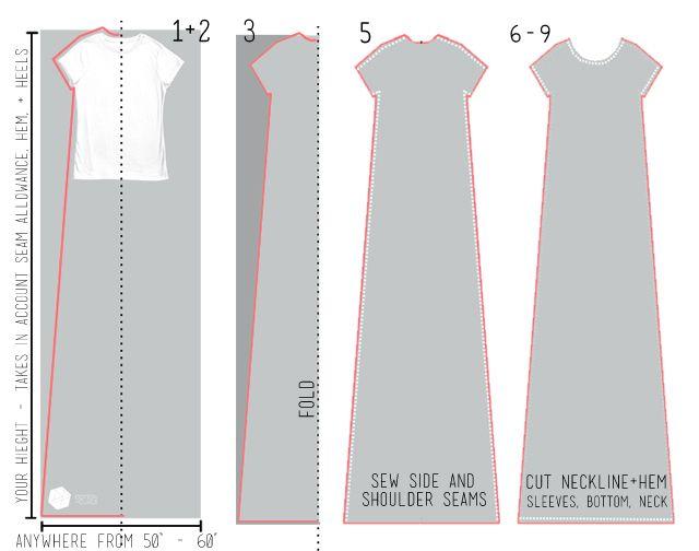Cotton + Curls | Super Easy—Tee Shirt Maxi Dress Tutorial