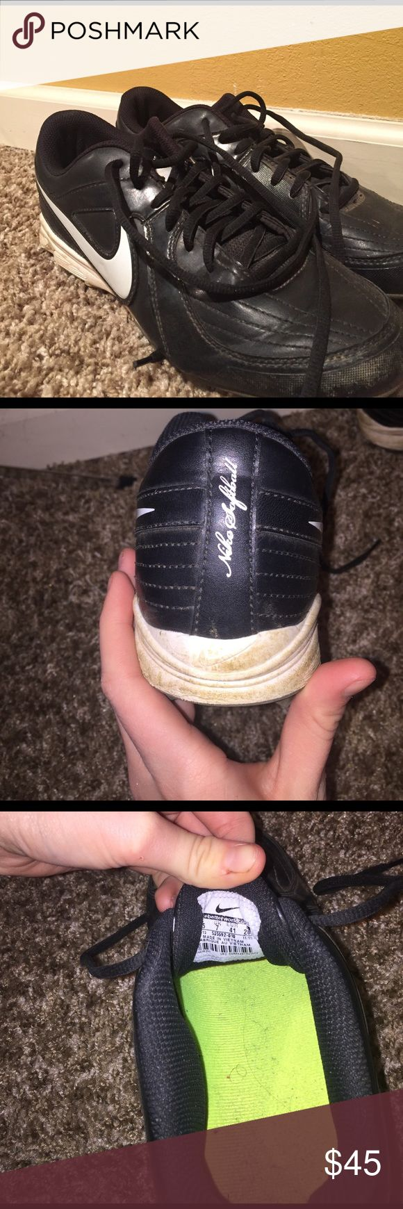 Nike Softball Cleats Ready for this upcoming softball season and can't find the perfect cleats for you? Well look no farther! Lightly used cleats for someone on a budget, but wanting high-end cleats. These are size 9.5 in the U.S. and they fit perfectly and are so comfortable. Used a handful of times throughout softball season. They were originally $120, but offering $45. Nike Shoes Athletic Shoes