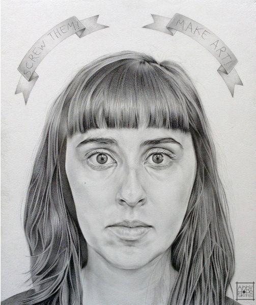 Title: Self Portrait with Banderole Medium: Oil on Board