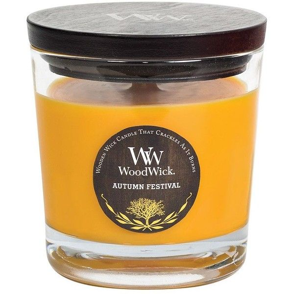 WoodWick Autumn Festival 10.5-oz. Candle Jar (2580 ALL) ❤ liked on Polyvore featuring home, home decor, candles & candleholders, orange, autumn scented candles, orange candle, autumn candles, colored jars and wick candles