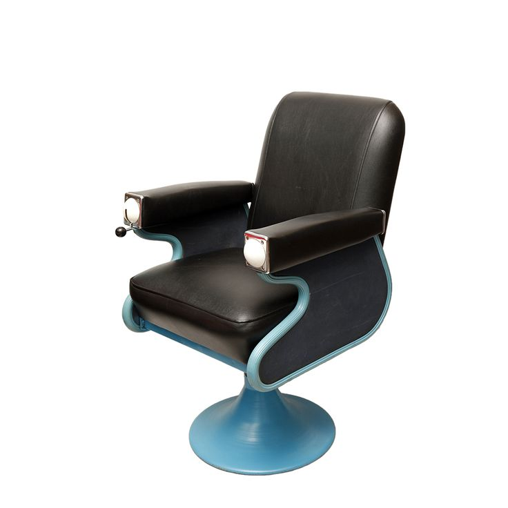 Fotel fryzjerski, Niels Koefoed dla Wella, lata 50. | Barber chair, Niels Koefoed for Wella, 50s. | buy on Patyna.pl  #barber #chair #Koefoed #Wella #leather #black #retro #vintage #inspiration #amazing #modern #midcenturymodern #blue #50s #1950s #Lata60te