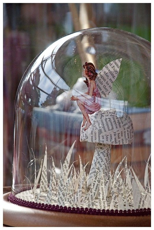 To create this scene for our outdoor solar glass fairy house, water-resistant material would be needed in order to leave it outdoor year round for years - or hang where it's sheltered from rain. http://www.allsopgarden.com/solar-glass/solar-glass-fairy-house