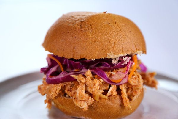 the chew--Daphne Oz's BBQ Sandwich--pulled chicken and slaw--lighter, healthier version of the usual