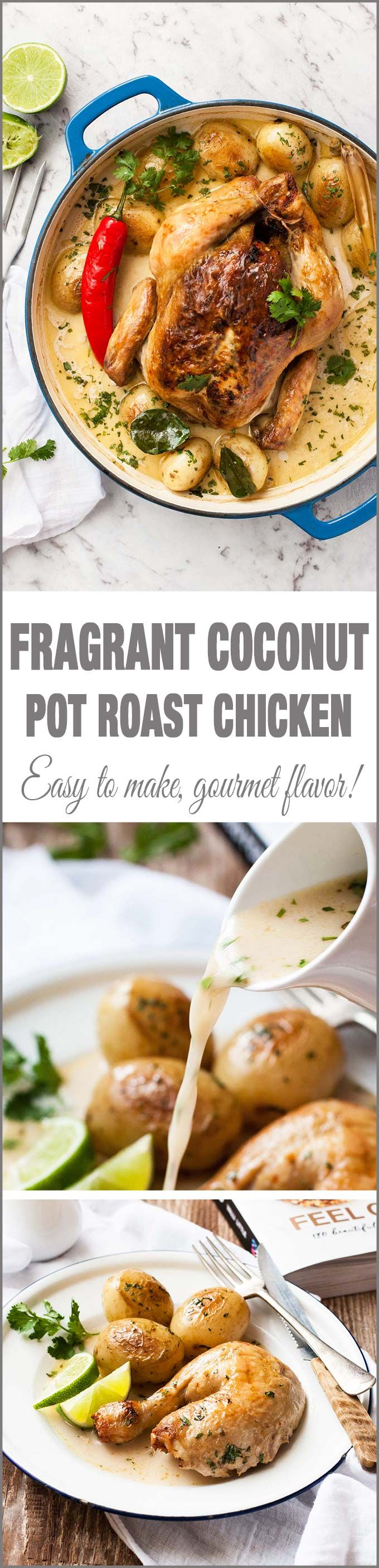Fragrant Coconut Pot Roasted Chicken - Juicy chicken roasted in a fragrant Asian-style coconut broth. Amazing flavor for so few ingredients!
