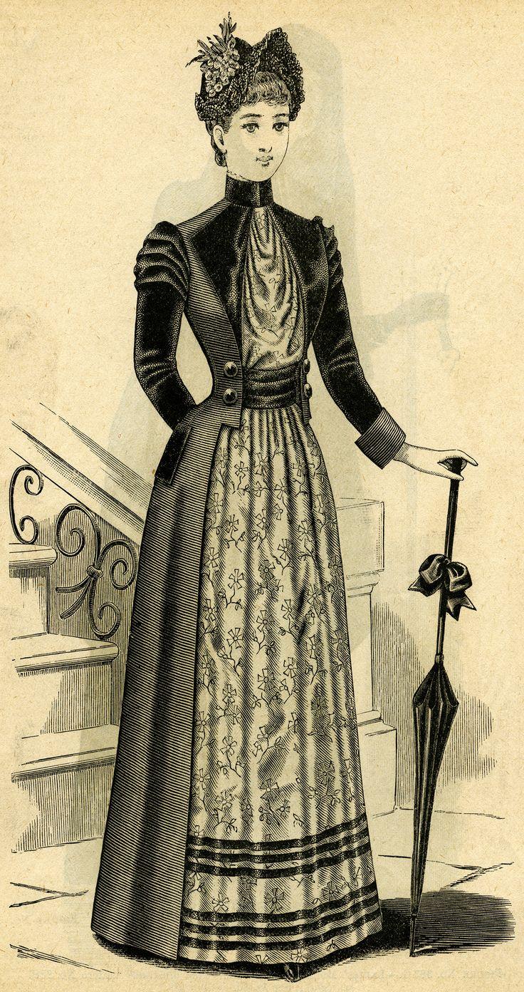 Victorian lady, black and white clip art, Victorian