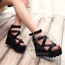 Gladiator Modern Plain Narrow Band Wedge Ladies Shoes Black Sweet Pu Soft…
