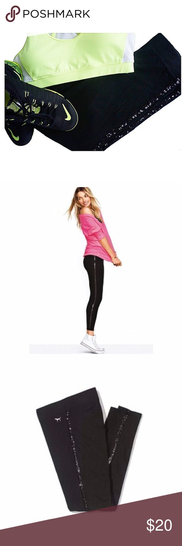 PINK Sequin Leggings Super cute sequin side stripe leggings 😍 These spice up any outfit by adding a little sparkle 💎 Gently used but in great condition!! PINK Victoria's Secret Pants Leggings
