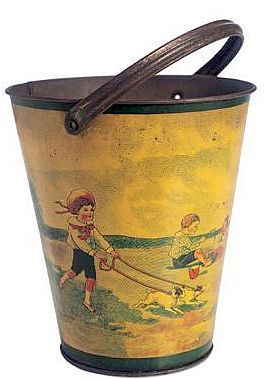 Antique Sand Pail...Victorian Boy Walking Dogs on the Beach, while other children are playing in the sand.