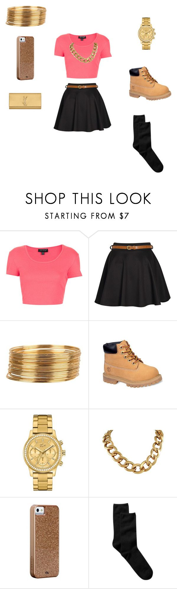 """""""pretty girl swag"""" by thomasjustice ❤ liked on Polyvore featuring Topshop, Boohoo, Armitage Avenue, Timberland, Lacoste, Case-Mate, Gap and Yves Saint Laurent"""
