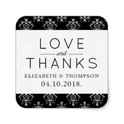 Thank You - Venetian Damask, Ornaments - Black Square Sticker