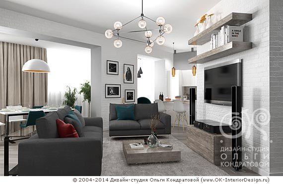 ТВ-зона гостиной в стиле лофт для рок-музыканта  http://www.ok-interiordesign.ru/blog/loft-flat-interior-for-rock-musician.html