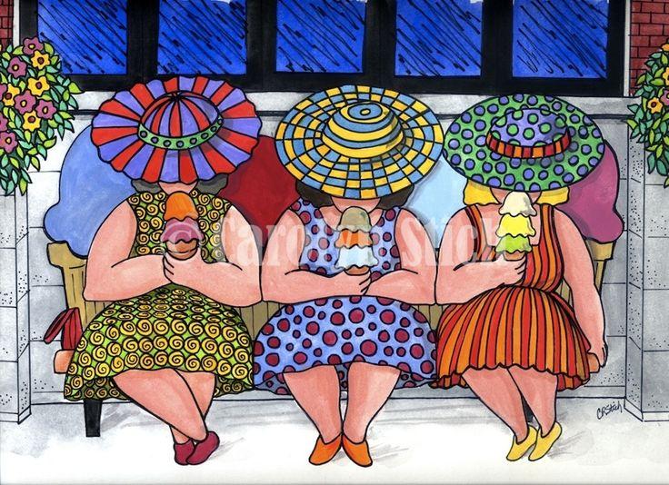 #406 The Girls Having Ice Cream - Carolyn Stich Studio