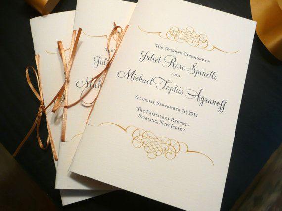 100 Classic Black and Gold Wedding Programs with Ribbon - 4 Pages of Text. $190.00, via Etsy.