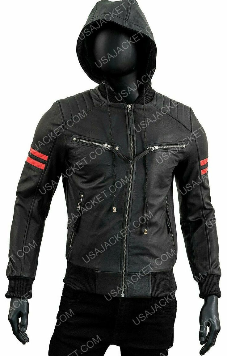 Retro Bomber Real Leather Cafe Racer Motorcycle Hoodie