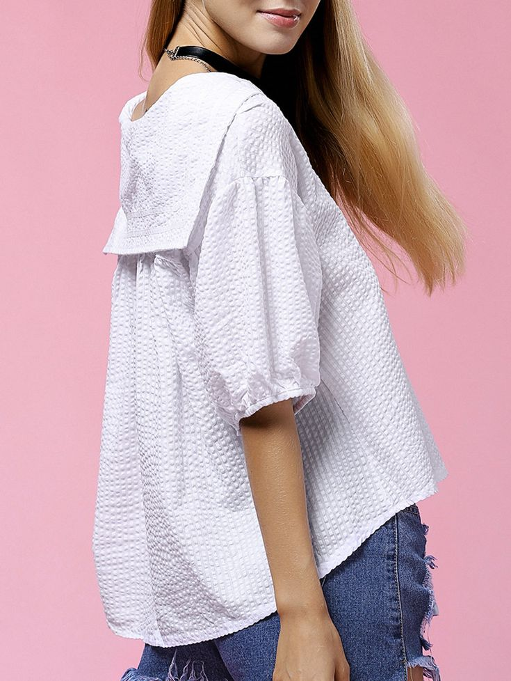 Preppy Style Short Sleeve Sailor Collar Striped Blouse For Women from 20.60$ by SAMMYDRESS