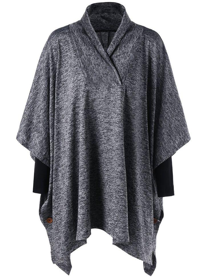 Plus Size Tunic Shawl Collar Top