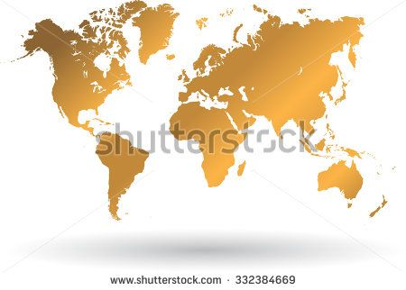 Gold map of the world and shadow