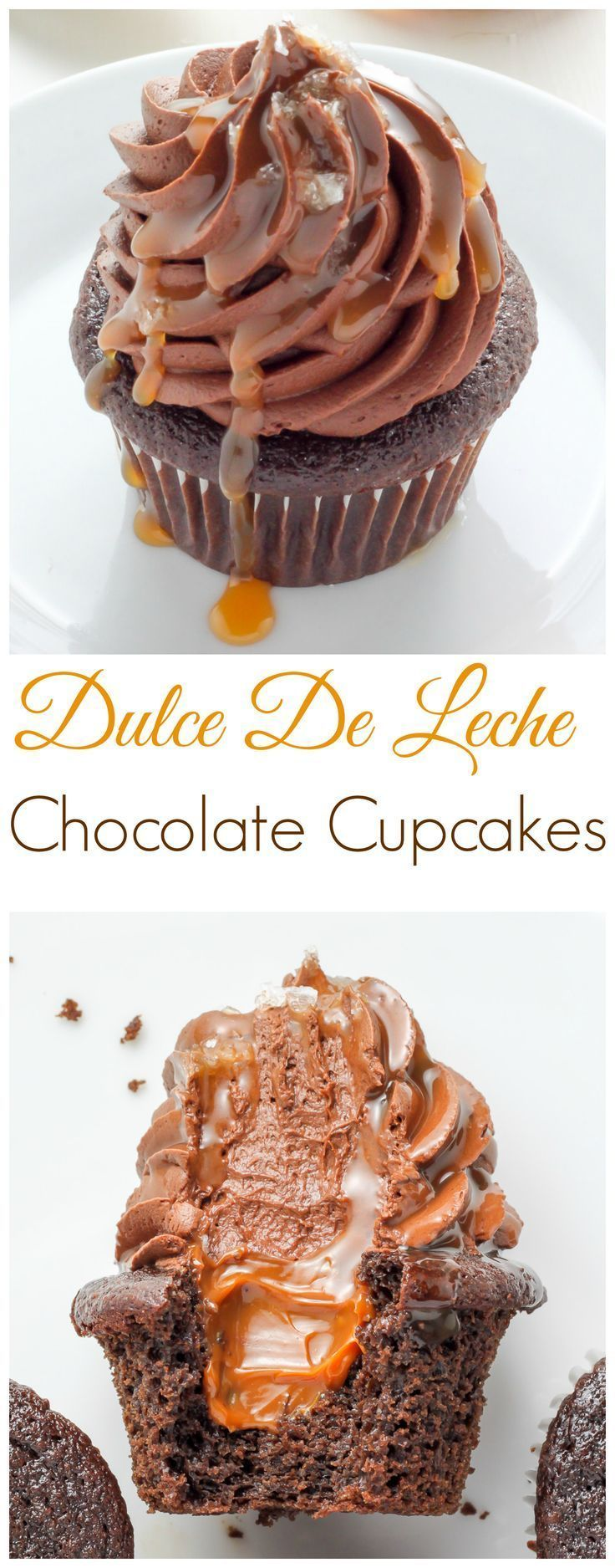 What's better than a batch of chocolate cupcakes...?! A batch of Dulce De Leche Chocolate Cupcakes! This SUPER decadent recipe is sure to become a new favorite.