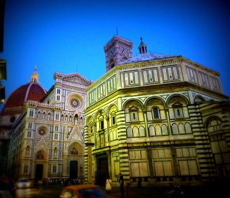 The Baptistery of St. John stands in both the Piazza del Duomo and the Piazza di San Giovanni, across from Florence's Duomo.