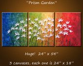 Amy Giacomelli Original Large Abstract Painting Modern Flowers .. yellow green red blue black ...24 x 54 .. Prism Garden