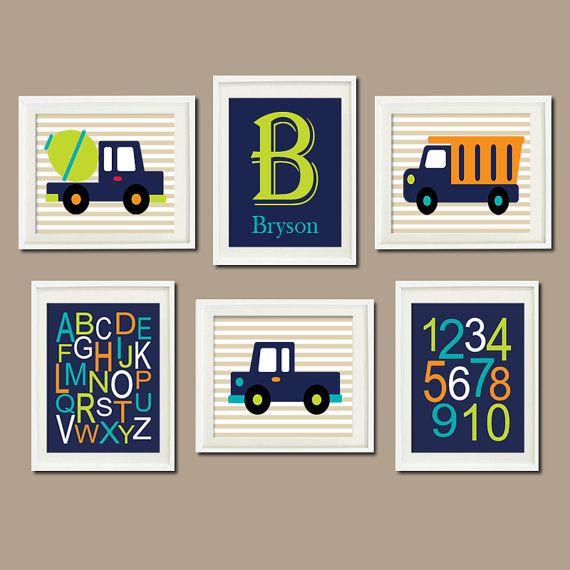 Construction Trucks Personalized Initial Name Nursery Art Alphabet Numbers Navy Lime Green Wall Art Set of 6 Prints Baby Boy Decor Picture