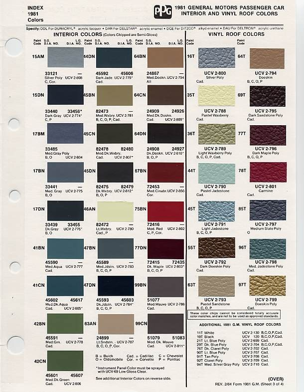 Gm Interior Paint Color Codes Home Painting