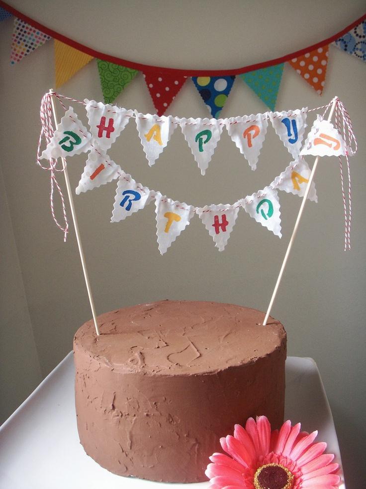 Cake Bunting Happy Birthday custom colored hand by BooBahBlue: Hands Paintings Fabrics, Happy Birthday, Colors Hands, Flags Cakes, Buntings Cakes Toppers, Cakes Buntings, Birthday Custom, Buntings Happy, Fabrics Flags