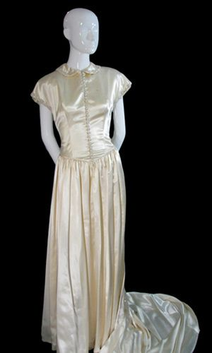 1940s vintage wedding dress in beaded satin with gloves for Slipper satin wedding dress