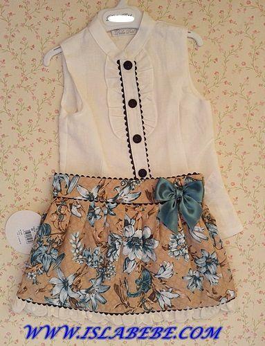 Conjunto falda vuelo y camisa | 2224 | OUTLET VERANO | CONJUNTOS NIÑA | DOLCE PETIT | ISLABEBE - Tienda online de ropa infantil | ropa de bebe bautizo