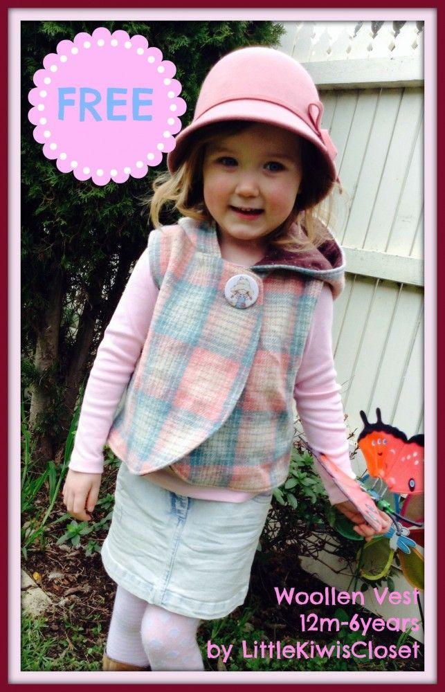 kids woollen vest FREE PDF pattern to download!