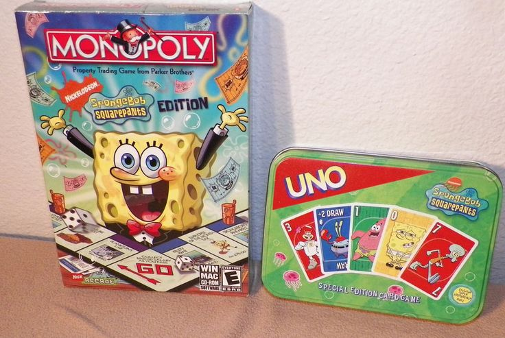 Collection of SpongeBob Games - Monopoly PC Game and Uno Card Game