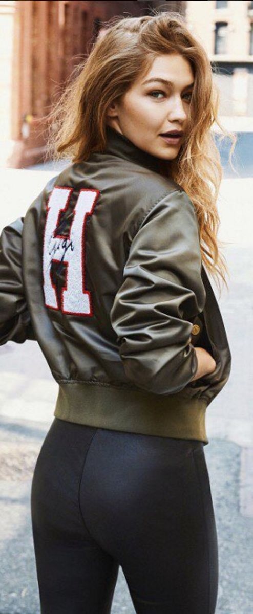 Who made  Gigi Hadid's green bomber jacket?