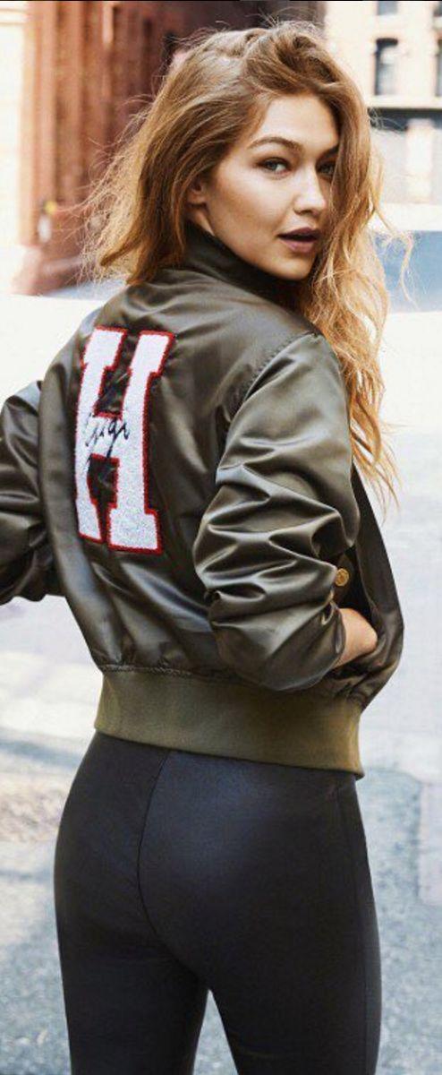 Who made  Gigi Hadid's green bomber jacket?
