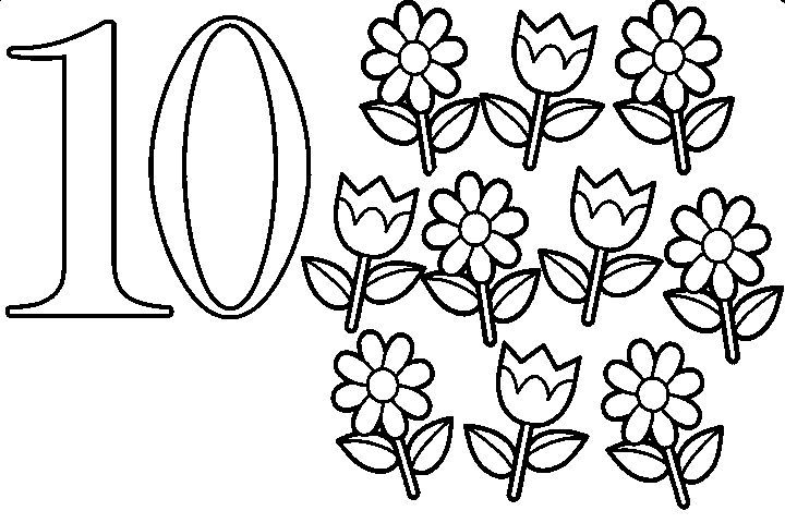 Simple Numbers Ten With Flowers