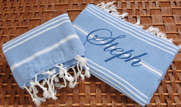 Set of 2 Classic COTTON PESHTEMAL and PESHKIR (Head&Body Towel) Personalized Turkish Towel Set - Monogrammed Embroidered - Light Blue by NaturalSoft on Etsy https://www.etsy.com/listing/125920992/set-of-2-classic-cotton-peshtemal-and
