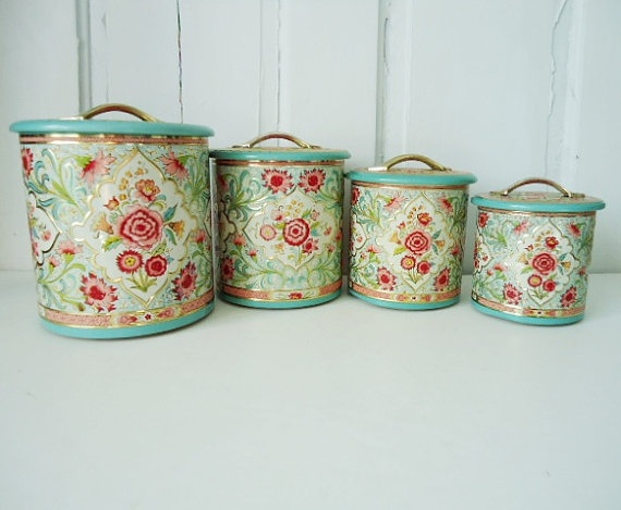 vintage turquoise pink and gold floral canister set made