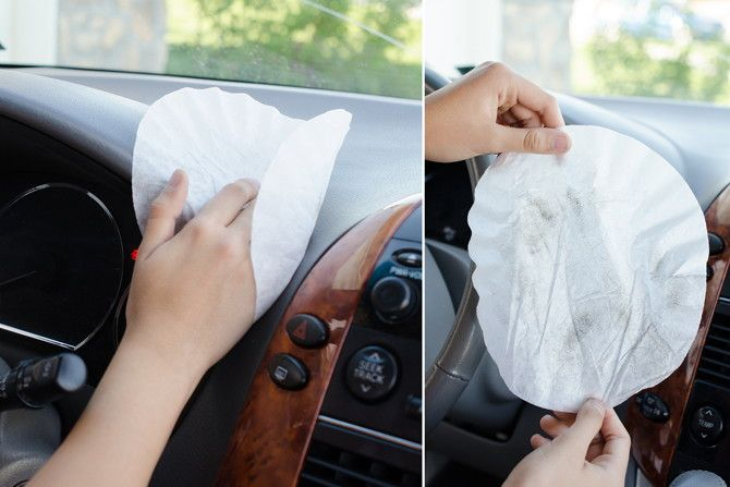 Wipe down the interior of your car with a coffee filter.