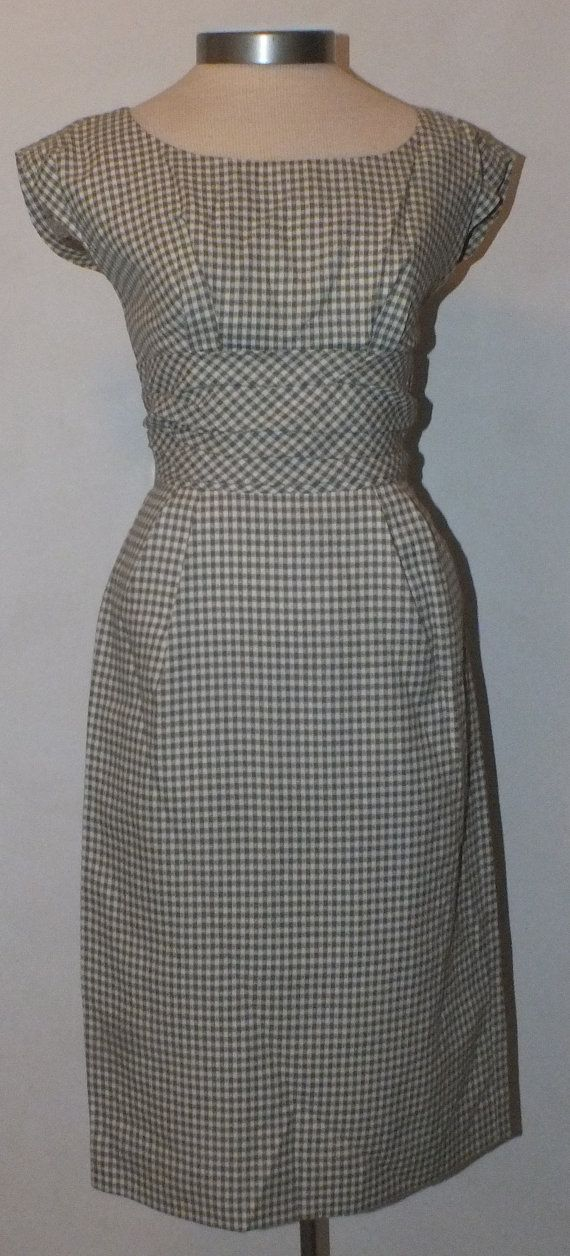 Green Gingham 1950s Wiggle Day Dress Petite by OrchidRoomVintage