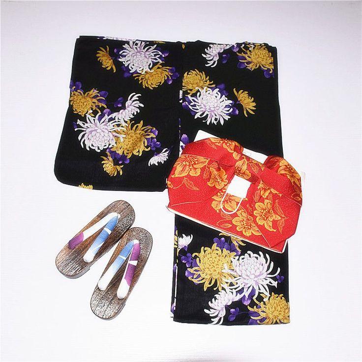 Japanese Traditional 100% Cotton Kimono with Obi Japan Flower Bathrobes Women Yukata Sleepwear Bath Robe 022810