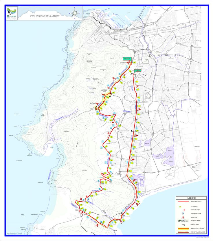 Route for 56km | Old Mutual Two Oceans Marathon