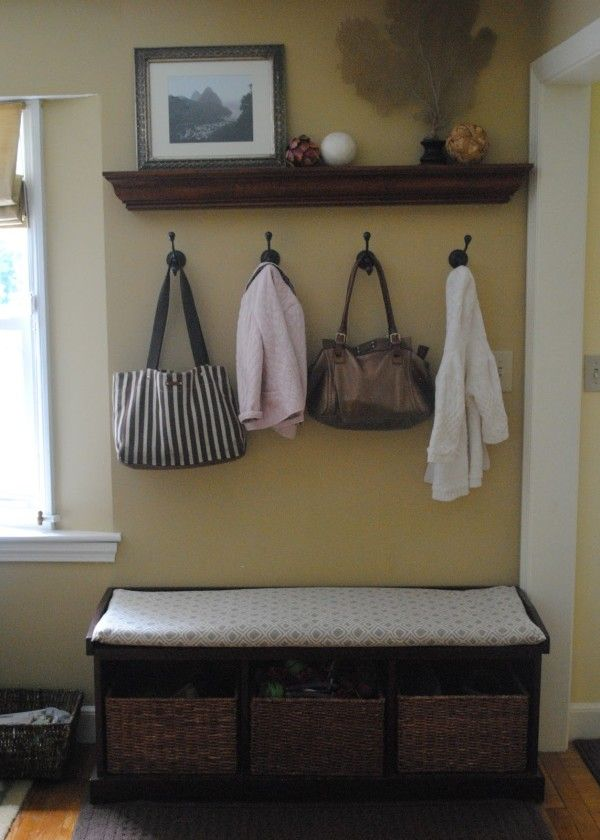 Furniture Fancy Entryway Bench With Cushion Using White Seat Pads Over Cubby Storage Unit For