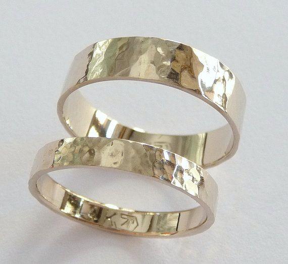 White gold wedding rings set women men wedding band by havalazar, $475.00