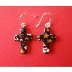 Murano Millefiori Cross Earrings - Black for R45.00