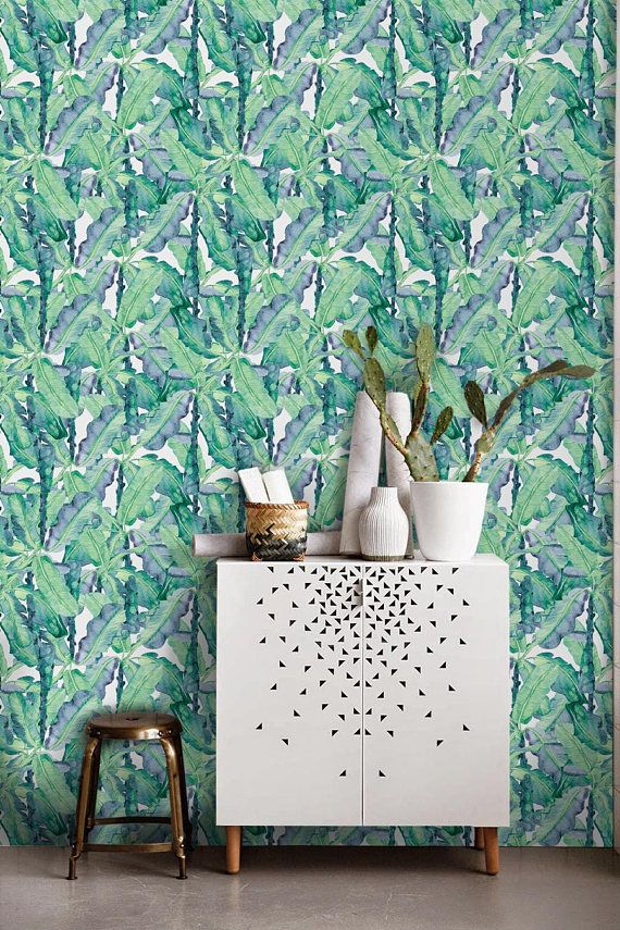 Aqua Banana Removable Wall Mural With Wonderful Play Of Colors What A Nice Design This Has To Wallpaper Walls Decor Tropical Wallpaper Banana Leaf Wallpaper