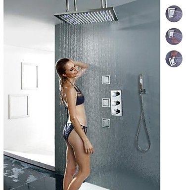 termostatisk badeværelse bruser vandhane, 20 tommer børstet 3 farver førte brusehoved med store lamper og messing håndbruser – DKK kr. 2.977